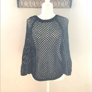 Bcbgmaxazria black open knit top